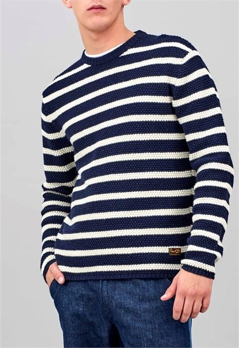 BOLT STRIPE SWEATER NAVY BRIAN